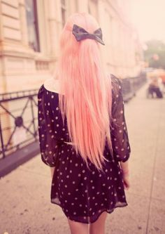 Long Pink Colored Hair with an adorable dress!  How Whimsical!