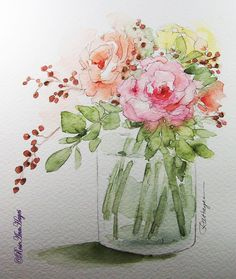 Ideas Flowers Boquette Illustration Watercolor Painting For 2019 Colorful Art, Flower Painting, Art Painting, Watercolor Flowers Paintings, Floral Art, Painting, Watercolor Flowers, Original Watercolor Painting, Original Watercolors