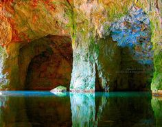 THE CAVE - Fine Art Photographic Print - An extraordinarily beautiful print of a cave in New Hampshire. It was sitting in a pool of water, and the water was reflecting the cave and all it's rainbow of colors. It was peaceful, mysterious, quiet, and stood there like a lost treasure.    www.etsy.com/...