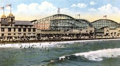 California Cool: vintage postcard - the pier at Seal Beach, 1917 - showing The Derby = wood rollercoaster