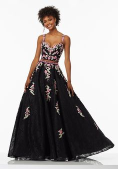 Prom Dresses by Morilee designed by Madeline Gardner. Two-Piece Prom Dress with Floral Embroidered AppliquŽs on Lace. Beaded Waistline Accents Skirt.