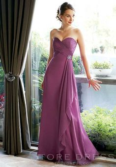 Charming Draped Beading Empire Waist floor-Length Strapless Bridesmaid Dress at Storedress.com