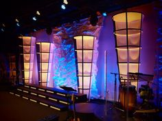 Church Stage Design Ideas For Cheap green lighting during service Cylinder Cones Church Stage Design Ideas