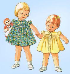 1960s Vintage McCalls Sewing Pattern 6899 Baby Girls Smocked Dress Size 6 mos