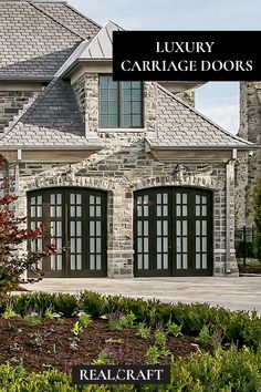 Discover handcrafted luxury Carriage Doors for Custom Homes with Real. Real Carriage Doors is a RealCraft Company. Sliding Garage Doors, Carriage House Garage Doors, Custom Garage Doors, Wooden Garage Doors, Carriage Doors, Custom Garages, House Doors, Entry Doors, Real Real