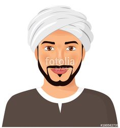 Vector: Handsome  arab man avatar face with mustache and beard in a traditional turban  isolated vector Illustration