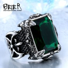 Blue/Black/Green/red Zircon Big stone Stainless Steel Man's Classic Claw Punk anniversary wholesal Jewelry Black Rings For Him, Stone Rings For Men, Punk Jewelry, Jewelry Rings, Cheap Jewelry, Chunky Rings, Black Gold Jewelry, Big Rings, Anniversary Jewelry