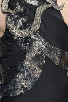 Metallic bead embroidered dress - textured embellishment; fashion design detail // Threeasfour Fall 2010