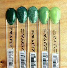 Glittery Green Ombre Nail Look! From left to right: Zoya Nail Polish in Holly, Ivanka, Apple, Midori and Tangy