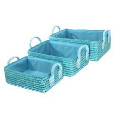 Disponible sur Boutiquedubain.com ! 3 Paniers de Rangement en Osier Turquoise