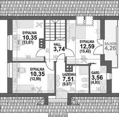 Rzut poddasza projektu Lolek N Architectural House Plans, Floor Plans, How To Plan, Architecture, Houses, Arquitetura, Architecture Design, Floor Plan Drawing, House Floor Plans