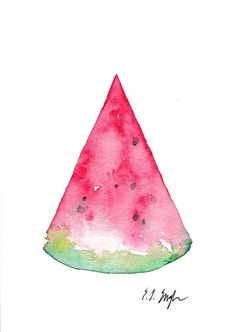 Pink Watermelon Slice, Original Watercolor Painting, 5x7, food, art, kitchen, summer, green