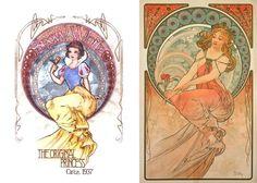 Colección Art Nouveau de Disney.  Blancanieves como el póster de Pintura de la…
