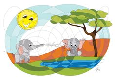Today we visited our elephant friends ! :-) #HAPIdesign  #elephant  #nature #sun #cute #smile #spiral #instalike #instagood #follow #drawing #mandala
