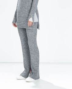 Image 2 of RIBBED FLARED TROUSERS from Zara