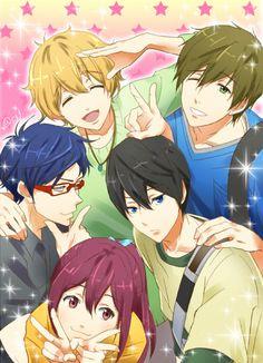 Free! Iwatobi Swim Club ~~ Nagisa, Rei, Makoto, Haruka, Gou.