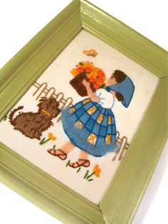 Frame Needlepoint Crewel Artwork Girl with Flowers & by a2ndlife, $9.60