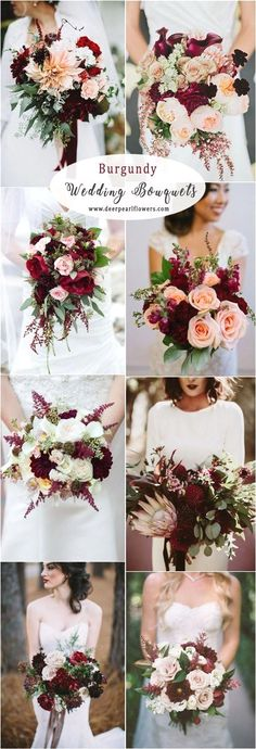 burgundy fall wedding bouquet and flowers wedding flowers 40 Burgundy Wedding Ideas for Fall and Winter Weddings Spring Wedding Bouquets, Fall Wedding Bouquets, Fall Wedding Flowers, Fall Wedding Colors, Wedding Flower Arrangements, Wedding Color Schemes, Floral Wedding, Bridal Bouquets, Fall Bouquets