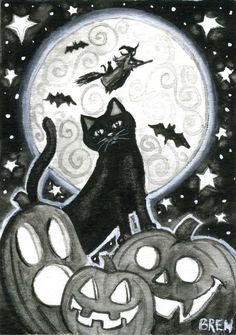 Halloween Night 5 x 7 print door Brenna White zwarte kat