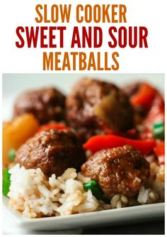 Sweet and Sour Meatballs {In Crockpot!} | Six Sisters' Stuff Slow Cooker Sweet and Sour Meatballs are one of the easiest and tastiest meals you'll ever make. Dump everything in the slow cooker and it will do the rest.