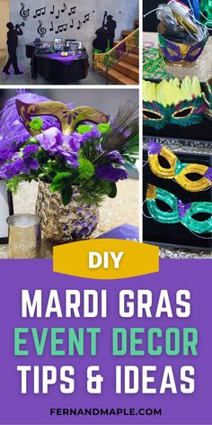 These fun and fabulous Mardi Gras themed event tips and ideas are perfect for letting the good times roll at a fundraiser, birthday party, or bachelorette! Get details now at fernandmaple.com!