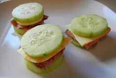 Cucumber sandwiches so simple,  yummy,  and clean: A piece p of cheese and a slice of Boar Heads sandwich meat of your choice.