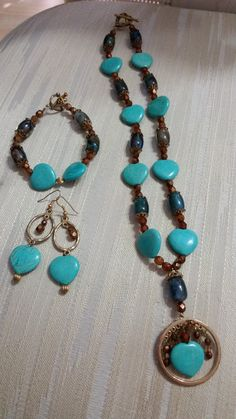 Magnesite Hearts w/ Copper Crystals Set by JewelsbyLil on Etsy