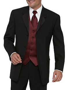 black tux with eggplant accessories  for the groomsmen (not the red pictured)