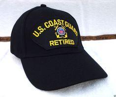 US COAST GUARD RETIRED (BLACK) Military Veteran Hat 31 VV  BaseballCap  Veteran Hats c213bfb3cbe0