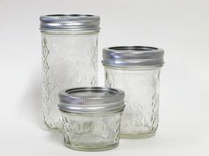 Ball Quilted Crystal Jelly Jars - so versatile beyond just canning! You can cook with them, serve in them, and store in them-lids seal tight for freezing, refrigeration, or room temp. 12 oz. jars for everyday drinking glasses (classier than standard pint mason jars), 8 oz. jars for juice glasses, 4 oz. jars for single servings appetizers, desserts and more or even tea light holders... I'll take a set of each for my kitchen please