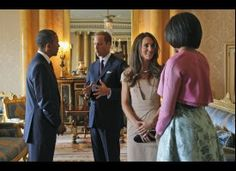 The Obama's meeting Prince William and Kate.