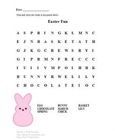 Easter Color Sheets and Word Search Winter and Spring
