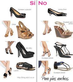 """SI: zapatos de punta redondeada, Sandalias de tiras anchas, sandalias con elementos grandes en la parte central, que cubran más el pie. NO: zapatos punta muy angosta, sandalias con tiras muy delgadas, zapatos en color """"nude"""" (crema) ya que al tener un color similar al de la piel por lo que el ancho no tendrá demarcación."""