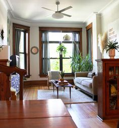 Marvelous Ideas: Living Room Remodel With Fireplace Bookcases farmhouse living room remodel farm house.Living Room Remodel With Fireplace Decor livingroom remodel on a budget.Living Room Remodel With Fireplace Rugs. Living Room Remodel, Home Living Room, Apartment Living, Living Room Decor, Dark Wood Trim, Oak Trim, Wooden Trim, Apartment Therapy, Small Basement Remodel