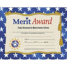 Hayes School Publishing Certificates Merit Award With X 11 Perfect Attendance Certificate, Certificate Of Merit, Certificate Of Achievement Template, Award Certificates, Certificate Templates, Kids Awards, Teaching Supplies, Thank You Letter, Educational Toys