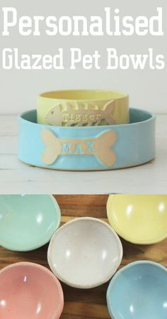Love these pretty pet bowls. These custom cat and dog bowls are hand made and finished with your cat or dog's name stamped and glazed individually onto a dog bone or little fish. Each of these is formed entirely by hand and is a unique item for that special furry someone! #pets #petlovers #dogs #doglovers #cat #cats #pottery #etsy #ad