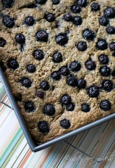 "Gluten free quinoa breakfast bars with blueberries.  Make sure to use ""vegan eggs""."