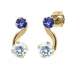 0.68 Ct Round Sky Blue Aquamarine Blue Tanzanite 14K Yellow Gold Earrings Gem Stone King http://www.amazon.com/dp/B00MGVS5VM/ref=cm_sw_r_pi_dp_-VTivb022RAHP