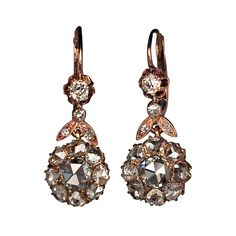 Antique Rose Cut Diamond Earrings | From a unique collection of vintage dangle earrings at http://www.1stdibs.com/jewelry/earrings/dangle-earrings/