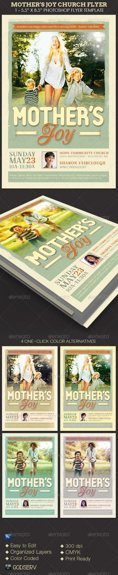 "Mother's Joy Church Flyer Template - $6.00 The Mother's Joy Church Template has a retro design with faded colors and textures that fits with a Mother's Day theme. Use it for sermons, banquets, bible study, concert, tea parties or just about any event that is geared towards a special event for mothers or women. The templates are conveniently easy to use. All you need to do is, ""Edit, Save, Print'"