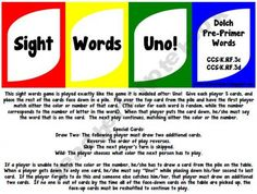 Sight words UNO game - You have to create a free account in order to download.  What a great idea!