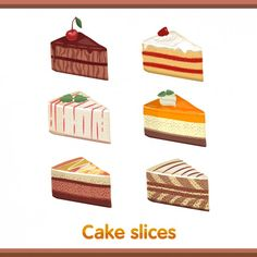 Cake Slices Set Free Vector food, dessert, delicious, strawberry, fruit, illustration, sweet, set, pie, pastry, wedding, cream, cute, birthday, colorful, cake, cherry, yummy, chocolate, bakery, cartoon, event, eat, celebration, cupcake, color, decoration, celebrate, design, isolated, seamless, plate, sprinkles, sugar, tasty, party, happy, gourmet, holiday, icing, candle, frosting, vanilla, jam, jelly, coffee, cocoa, caramel