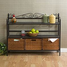 @Overstock.com - Elegant and beautiful three-drawer shelf will help with storage, display and organization  Kitchen furniture features lower shelf which holds three hand-stained rattan basketsTwo upper shelves provide ample and convenient storagehttp://www.overstock.com/Home-Garden/Bakers-Rack-with-Three-Rattan-Drawers/3684081/product.html?CID=214117 $161.99