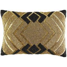 It's called modern, but our extravagant pillow is in fact the result of traditional, time-intensive handiwork. Hundreds of black and gold-tone glass beads have been sewn by hand on the soft velvet cover, creating a pattern that is pure Art Deco glam. Finished with a concealed zipper closure, this pillow is pre-filled and ready to enjoy.