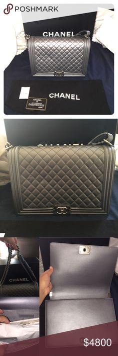 NWTS CHANEL Flapbag Gray Boy Purse This is a brand new authentic CHANEL purse. This includes the purse, dust bag, certificate of authenticity card, price tag, care instructions and hard box for the bag. This bag is a large gray boy style flapbag. Please look at photos, the last collage is what the bag will look like wearing it. This bag a must have! Purchased at the Los Angeles CHANEL store on North Robertson. Retails for $5,000! Total paid was $5,450 with tax. Please do not hesitate to ask…