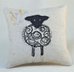 Pin Cushion with Machine Embroidery Sheep Design £8.00
