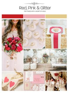 Red, pink and glitter wedding inspiration board, color palette via Weddings Illustrated
