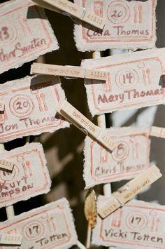 #escort-cards  Photography: Austin Warnock Photography - austinwarnock.com Floral Design: Walter Knoll - wkf.com Decor Styling + Look Creation: Katie Kemp - katiekempstationery.4ormat.com  Read More: http://stylemepretty.com/2013/06/27/missouri-wedding-from-austin-warnock-photography/