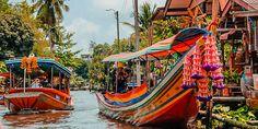 Traditionelle Longtail Boote in den Kanälen Bangkoks Bangkok, Thailand, Outdoor Furniture, Outdoor Decor, Strand, Hammock, Country, Home Decor, Decoration Home