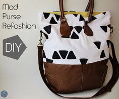 Mod Purse Refashion, a tutorial showing you how to upgrade a tired second hand leather purse with funky fabric and a strong sewing machine.  Excellent idea and excellent description of each step needed.